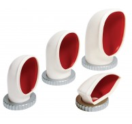 COWL VENT WHITE PVC RED INTERIOR REMOVABLE 4 SIZES