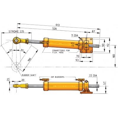 HYDRAULIC STEERING RAM MTC175
