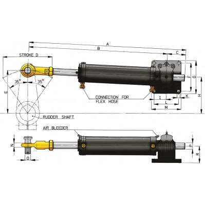 HYDRAULIC COMMERCIAL CYLINDER MODEL MT230-MT1200 6 SIZES
