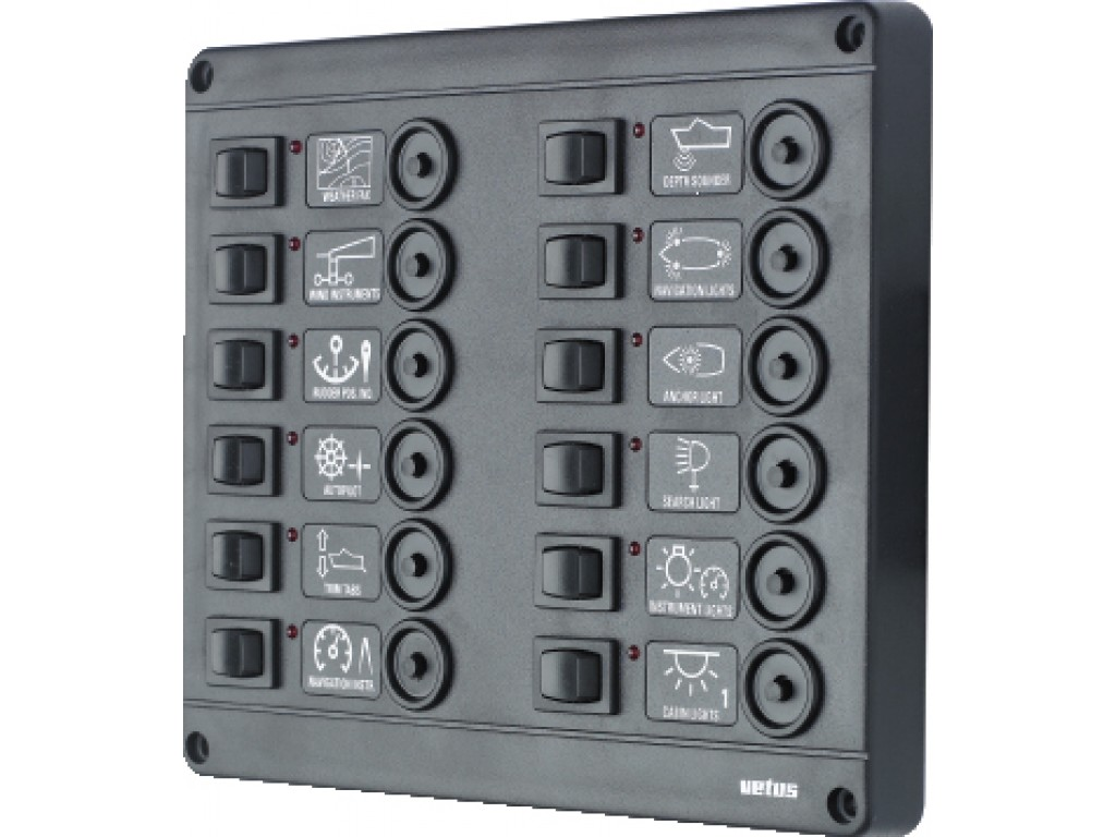switch panel 12 way choice fuses or breaker 12 or 24v. Black Bedroom Furniture Sets. Home Design Ideas