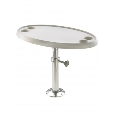 BOAT TABLE WITH PEDESTAL, MANUAL ADJUSTMENT, ROUND OR OVAL