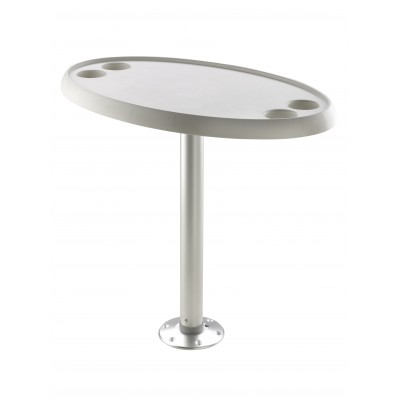 BOAT TABLE WITH PEDESTAL, FIXED HEIGHT, ROUND OR OVAL